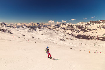 sunny day on the ski slopes of Cervinia
