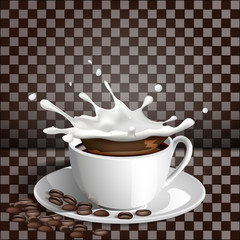 Cup of coffee with a splash of milk on a transparent background.