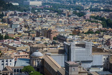Background with town roofs, cityscape. Buildings of the city - urban background and town landscape. Houses and rooftops of a big city as texture. ROME
