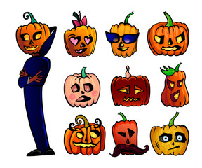 Halloween cute cartoon Pumpkins set. Vector illustration of Halloween character in dark blue cape and 9 different heads isolated on white background