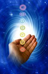 Wall Mural - healing with chakra - seven chakras and concept of reiki, healing, spiritual energy