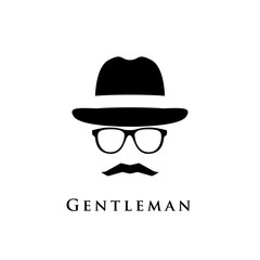 A gentleman with a hat, glasses and a mustache. Vector illustration.