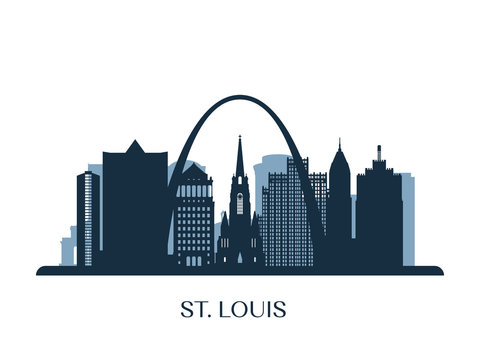 St. Louis skyline, monochrome silhouette. Vector illustration.