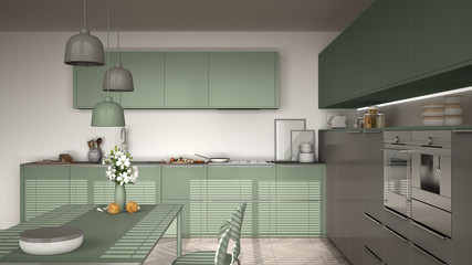 Modern kitchen with table and chairs, herringbone parquet floor, white and myrtle green minimalist interior design