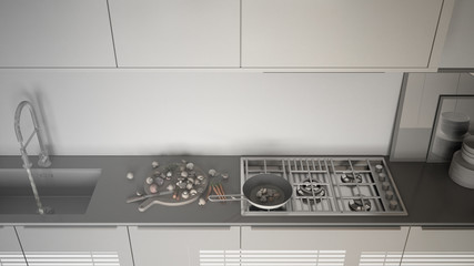 Unfinished project of modern kitchen with sink and stove, cooking pan and food, close-up, top view,  minimalist interior design