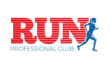 Run Professional Club. Silhouette of Running Woman