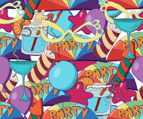Cute  holiday seamless background. Hand drawn vector pattern with stars, baloons,  fireworks, candies, lollipops, cupcakes, ice creams, gift boxes, cocktails. Can use it for birthday party decoration.