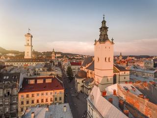 Lviv - city center view, historical center at sunset, Ukraine, Western Ukraine. Aerial panorama.