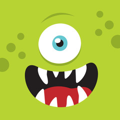 Monster funny cartoon face. Monster creature avatar. Vector stock.