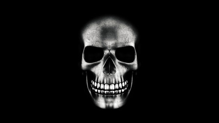 Human Skull On Black Background 3D Rendering