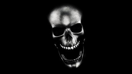 Human Skull On Black Background 3D Rendering