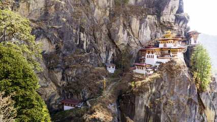 Wall Mural - Taktshang Goemba or Tiger's nest Temple the beautiful buddhist temple.The most sacred place in Bhutan is located on the high cliff mountain with sky of Paro valley, Bhutan.