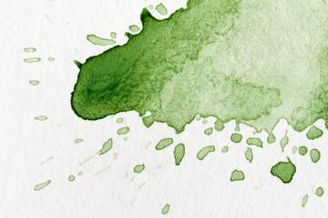 Splatter of green watercolor