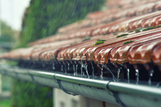 Drops of water flow into the eaves on the house in the rain.