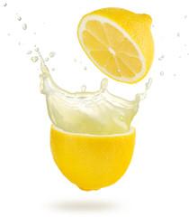 lemonade splashing out of a cut lemon