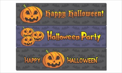 Happy Halloween Party Vector Illustration Landscape Banner With Bat Pattern On Background For Website Banner, Landing Page, Brochure, Posters, Flyer,  Greeting Card, Celebration Card, Invitation Card