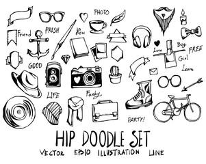 Set of Hipster doodle illustration Hand drawn Sketch line vector eps10