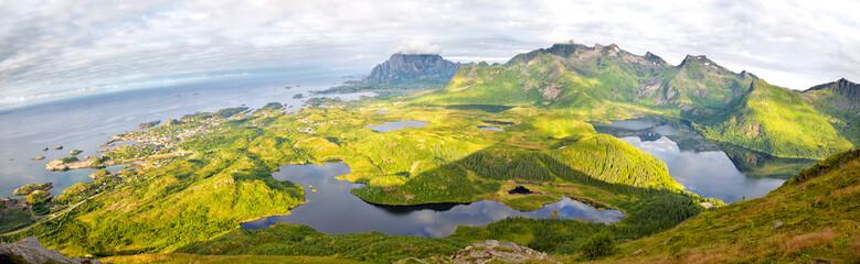Fotomurales - Aerial view panorama of Lofoten Islands, Norway