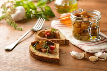eggplant in olive oil in glass jar