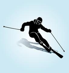 Vector silhouette skier