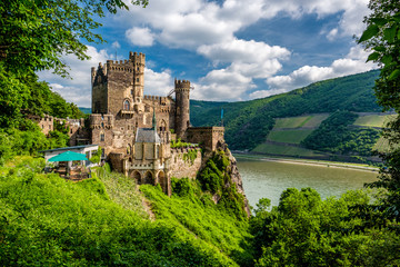 Rheinstein Castle at Rhine Valley (Rhine Gorge) in Germany