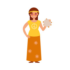 Flat. Hippie with tambourine.
