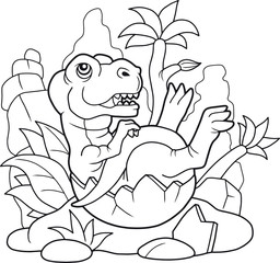 cartoon cute tyrannosaurus coloring book