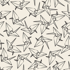 Seamless monochrome  paper origami bird pattern background