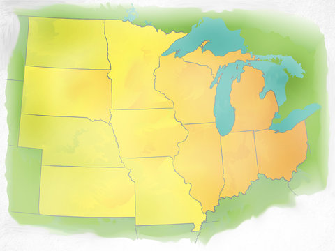 Watercolor Map of Midwestern US