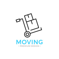 Moving line icon. Hand truck with cardboard boxes. Relocation concept. Simple linear design. Black vector moving icon