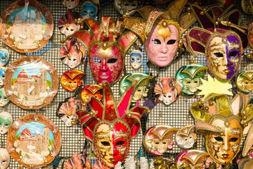 Carnival masks and other souvenirs for sale in Florence, Italy