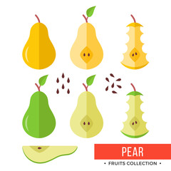 Pear. Green, yellow whole pear and parts, slices, seeds, leaves, core. Set of fruits. Flat design graphic elements. Vector illustration