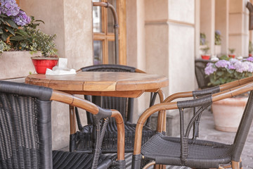 Empty table in open air cafe