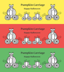 Pumpkin carriage for Halloween with copy space.