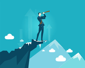 Businessmen on top on the mountain in very risky situation with possible falls looking with the telescope to the other side of the canyon. Risk in business concept illustration