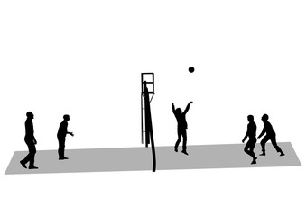 Athletes playing volleyball on a white background