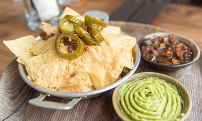 nachos with avocado paste