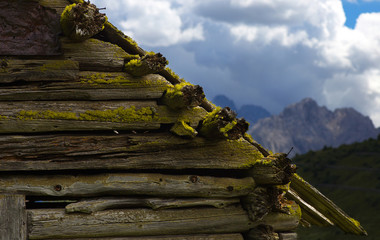 Detailed view of an old cabin in Dolomites, Italy
