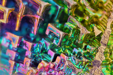 Printed kitchen splashbacks Macro photography Amazing colorful rainbow Bismuth Gemstone macro closeup texture as background