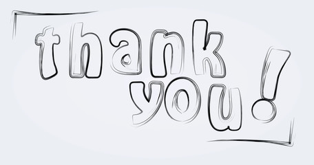 Thank you brushed letters. vector illustration