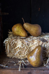 ripe pear harvest in rustic still life setting