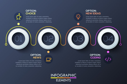 Modern infographic horizontal design template with 4 white rings and numbers inside