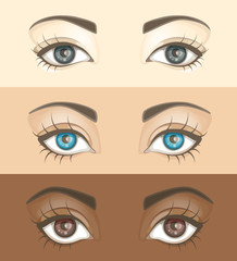 Set of beautiful women's eyes with different skin tones. Vector illustration
