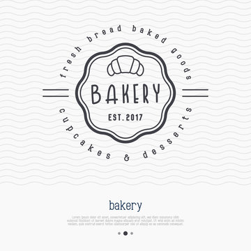 Bakery logo with thin line icon of croissant. Modern vector illustration.