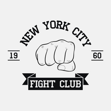 Fight Club logo. New York city, MMA, Mixed Martial Arts. Fighting typography for design clothes, t-shirts, apparel. Sport print with fist and ribbon. Vector illustration.