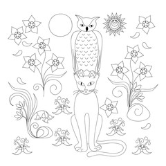 coloring page with elegant cat, owl and flowers