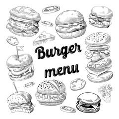 Hand Drawn Burgers. Fast Food Menu with Cheeseburger, Sandwich and Hamburger. Vector illustration