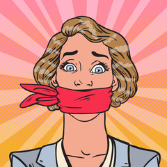 Pop Art Speechless Silenced Business Woman. Business Censorship. Vector illustration
