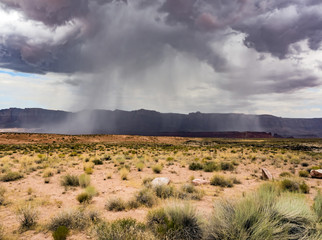 Summer rain, Marble Canyon Hwy 89 between Bitter Springs and Page, panoramic view - Arizona, AZ, USA