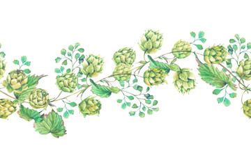 Watercolor natural seamless border of hops